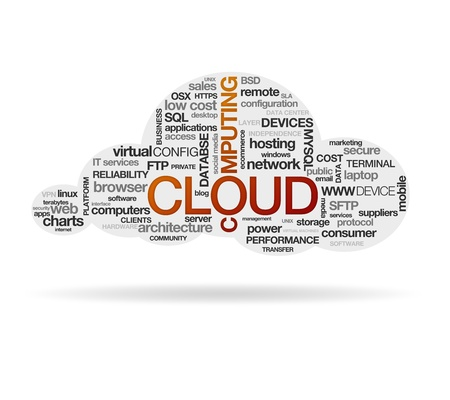 High resolution graphic of a cloud computing on white background Stock Photo