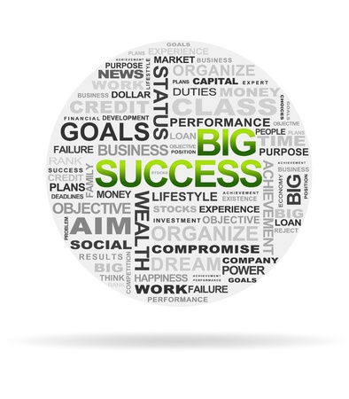 High resolution graphic of the word big success on white background.
