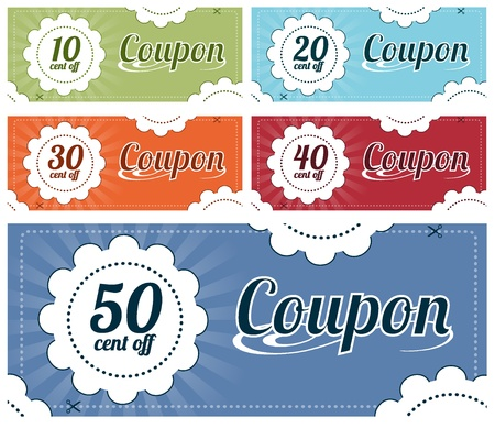 High resolution vector graphic of several promotional coupons.