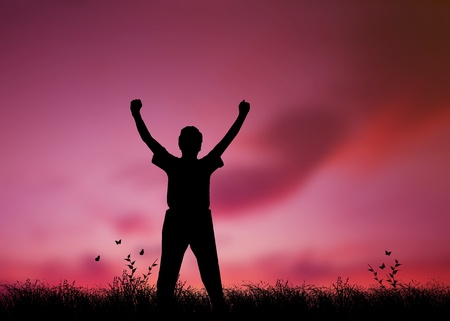 arms raised: High resolution graphic of a man silhouette with his arms raised in worship Stock Photo