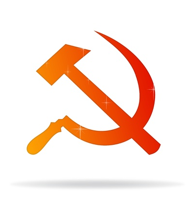 hammer and sickle: High resolution graphic of hammer and sickle on white background. Stock Photo