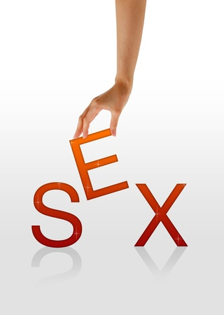 adult sex: High resolution graphic of a hand holding the letter E from the word sex.