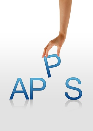 mobile app: High resolution graphic of a hand holding the letter P from the word Apps. Stock Photo