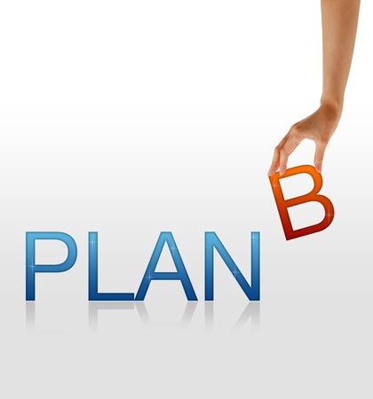 Hoge resolutie afbeelding van een hand die de letter B van het woord Plan B