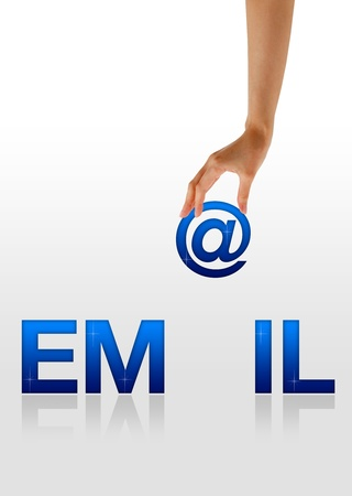 High resolution graphic of a hand holding the letter @ from the word Email. Stock Photo - 9616648