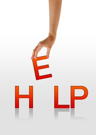 dangerous work: High resolution graphic of a hand holding the letter E from the word Help. Stock Photo