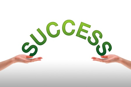 High resolution graphic of hands holding the word success. photo