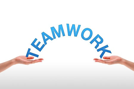 High resolution graphic of hands holding the word teamwork.