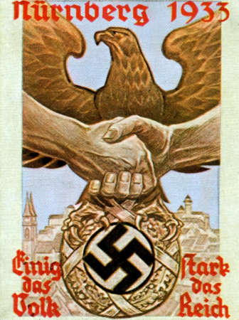 adolf: CIRCA. 1933: Rare German vintage cigarette card from ca. 1933 Der Staat der Arbeit und des Friedens album.
