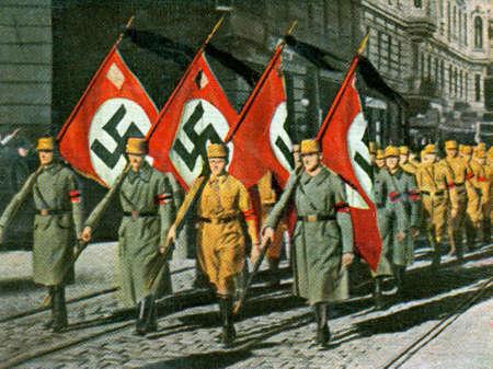 CIRCA 1933: Rare German vintage cigarette card from ca. 1933 Kampf Ums Dritte Reich album.