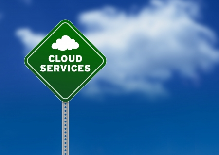 cloud storage: High resolution graphic of a green Road Sign on Cloud Background with the words cloud services Stock Photo