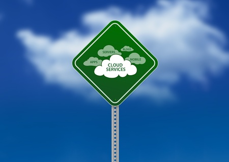 streetsign: High resolution graphic of a green Road Sign on Cloud Background with cloud services.  Stock Photo