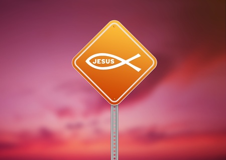 High resolution graphic of a orange Religious Road Sign on Cloud Background.