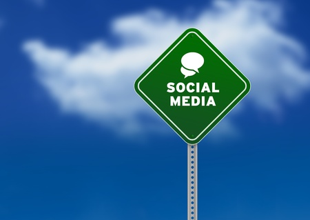 web marketing: High resolution graphic of a green Social Media Road Sign on Cloud Background Stock Photo