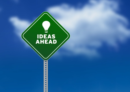 High resolution graphic of a green Ideas Ahead Road Sign on Cloud Background Stock Photo - 9675446