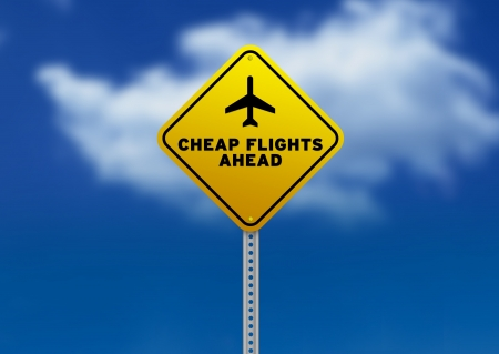High resolution graphic of a yellow Cheap Flights Ahead Road Sign on Cloud Background.