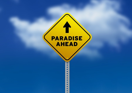 on cloud nine: High resolution graphic of a yellow Paradise Ahead Road Sign on Cloud Background.