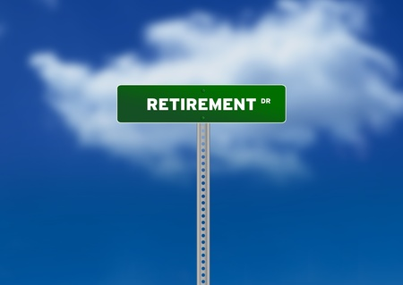 High resolution graphic of a green Retirement Road Signs on Cloud Background photo