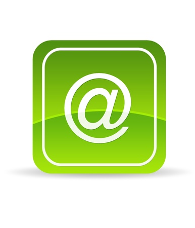 email contact: High resolution green email icon on white background. Stock Photo