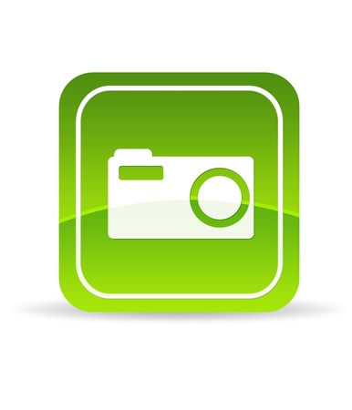 flick: High resolution green digital camera icon on white background.