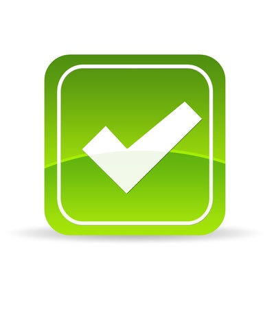 High resolution green check mark icon on white background. Stockfoto