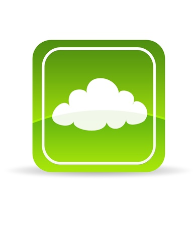 High resolution green cloud computing icon on white background.