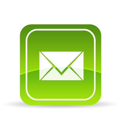 High resolution green contact us icon on white background. photo