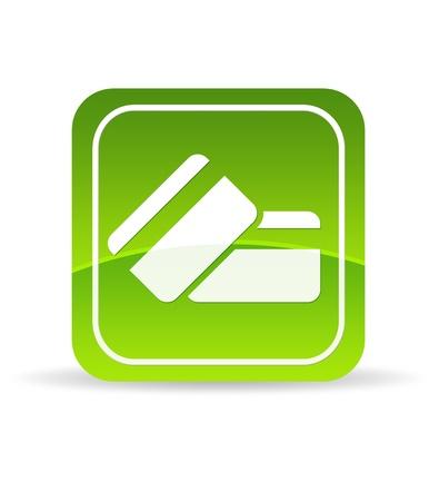 High resolution green credit debit card icon on white background. Foto de archivo
