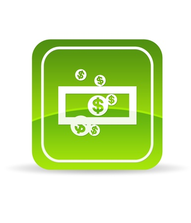 nestegg: High resolution green save money icon on white background. Stock Photo
