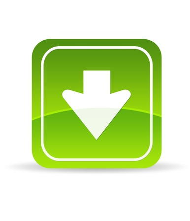 High resolution green download icon on white background. photo