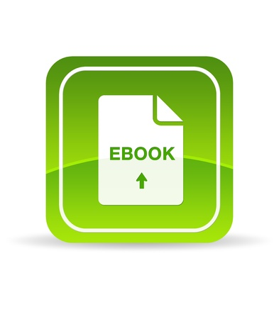 High resolution green ebook icon on white background. photo