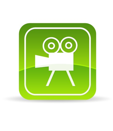 High resolution green video film camera icon on white background.