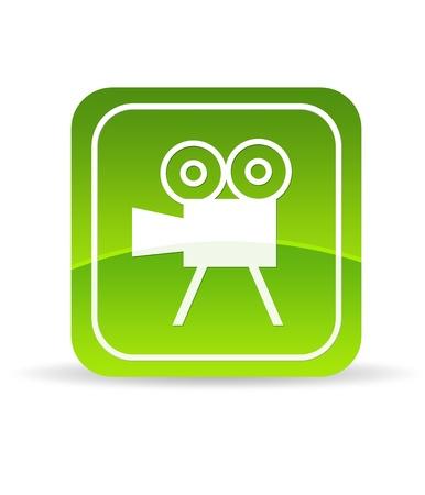 videofilm: Hohe Aufl�sung gr�n video Film Kamerasymbol auf wei�em Hintergrund. Lizenzfreie Bilder