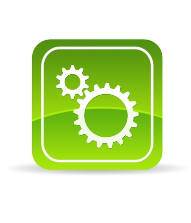 High resolution green Mechanical Gears icon on white background. Stock Photo - 9750116