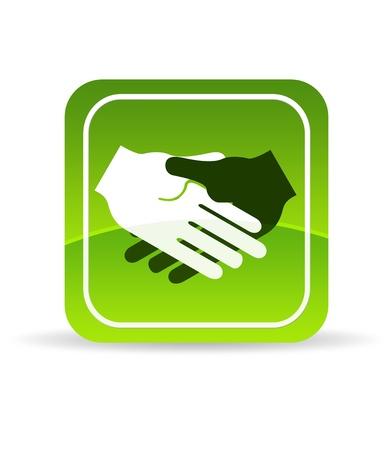 Hoge resolutie groene hand schudden pictogram op witte achtergrond.