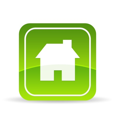 High resolution green home icon on white background. photo