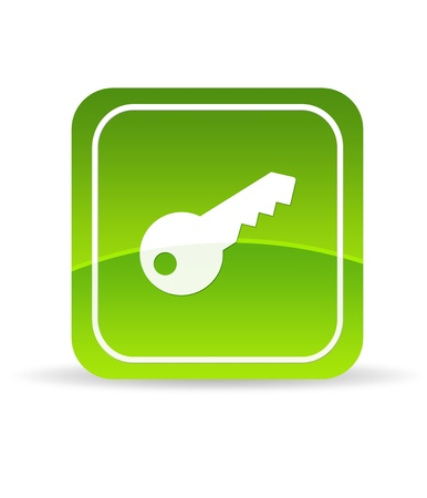 certificate icon: High resolution green key icon on white background. Stock Photo