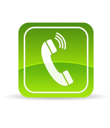 High resolution green phone icon on white background.