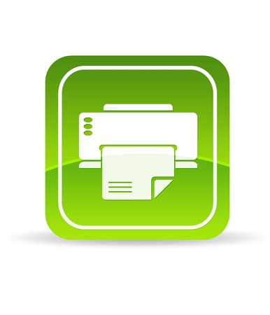 High resolution green printer icon on white background.