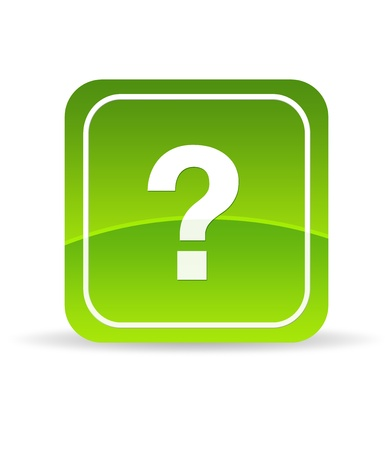 High resolution green question mark icon on white background. photo