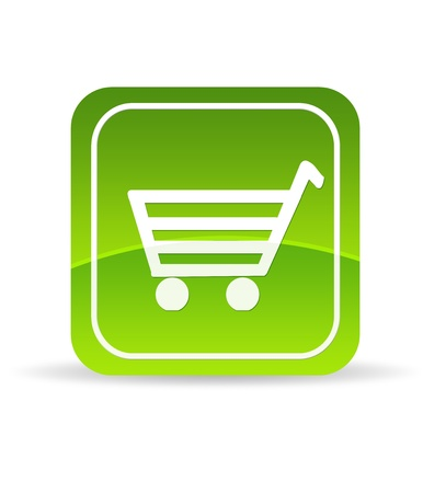 High resolution green ecommerce icon on white background.