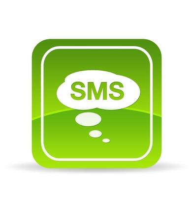 sms: High resolution green mobile SMS Icon on white background. Stock Photo