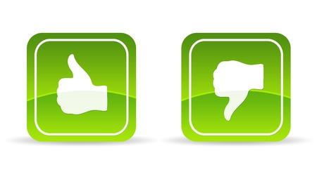 web survey: Alta resoluci�n verde pulgares arriba y abajo el icono sobre fondo blanco. Foto de archivo
