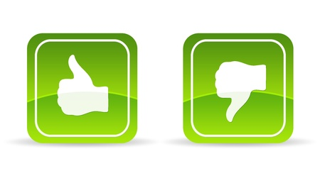 an opinion: High resolution green thumbs up and down Icon on white background. Stock Photo