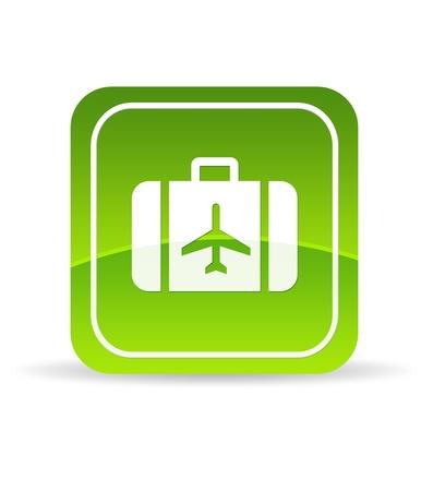 agencia de viajes: Alta resoluci�n verde viajar icono sobre fondo blanco. Foto de archivo