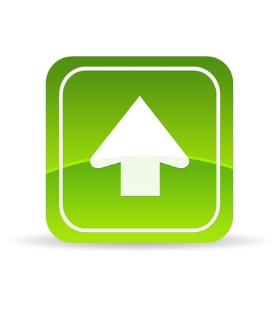 High resolution green upload icon on white background.
