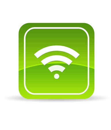 wlan: High resolution green wifi icon on white background.