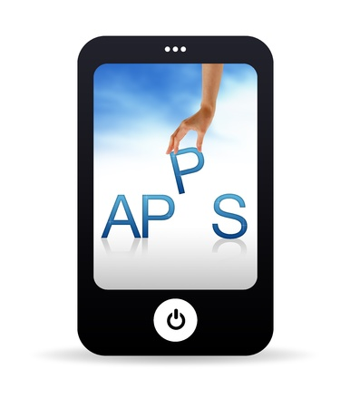 mobile app: High resolution Mobile phone graphic with the word Apps Stock Photo