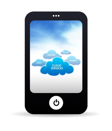 web hosting: High resolution mobile phone with cloud services.