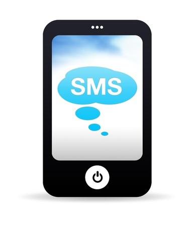 sending: Gr�fico de tel�fono m�vil de alta resoluci�n con burbujas SMS.
